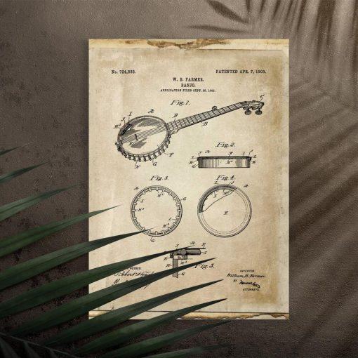 Plakat z rysunkiem patentowym bandżo do salonu