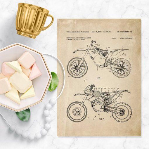 Plakat z patentem na motocykl wyczynowy - schemat