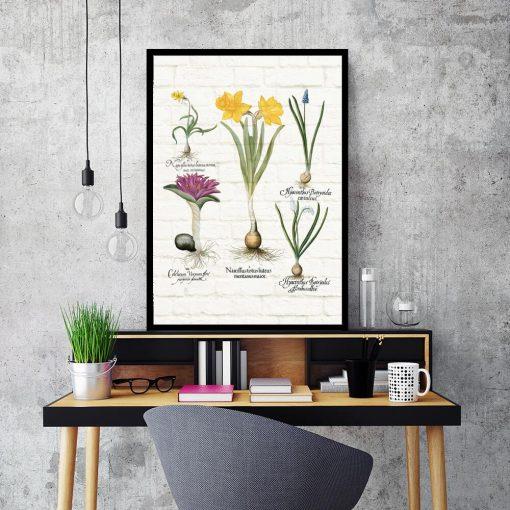Barwny plakat z motywem wiosennych kwiatków do biura