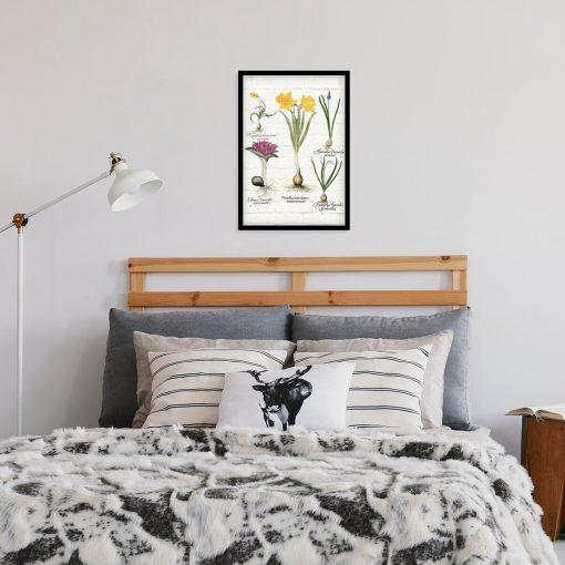 Barwny plakat z motywem wiosennych kwiatków do sypialni