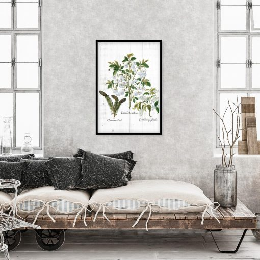 Botaniczny plakat - Kwiaty na deskach do sypialni