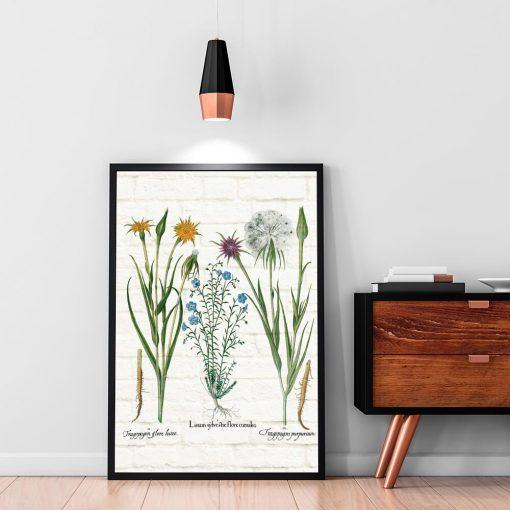 Botaniczny plakat z żółtą salsefią do biura