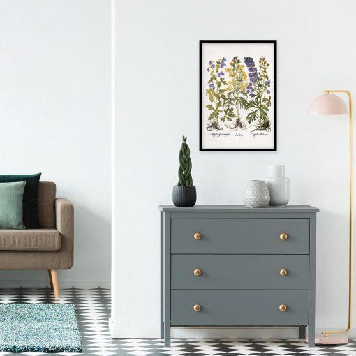 Fioletowo-niebieski mordownik - Plakat botaniczny na przedpokój