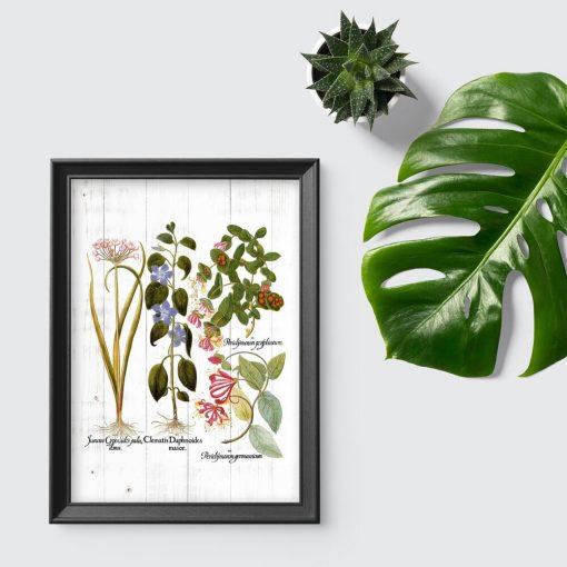 Plakat w rustykalnym stylu z kwiatami