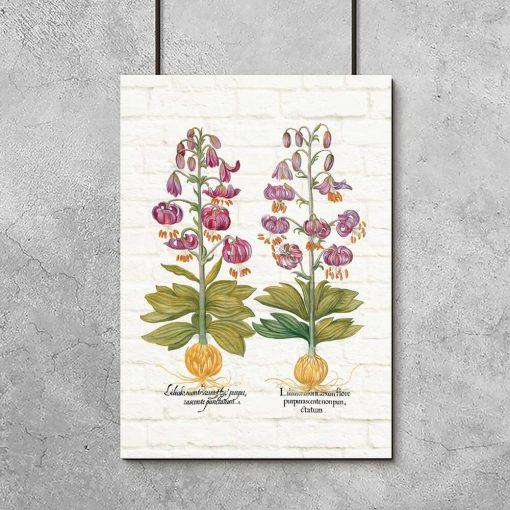 Plakat z liliami w kolorze purpury