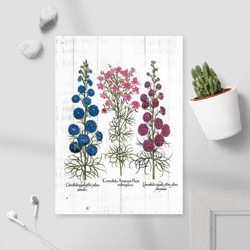 Plakat z motywem roślin na tle desek