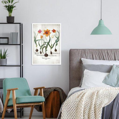 Plakat z płomienistymi tulipanami do sypialni