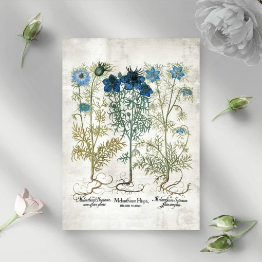 Plakat z polnymi niebieskimi kwiatuszkami