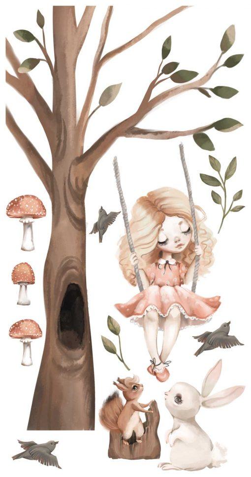 Komplet naklejek leśnych do pokoju dziecinnego