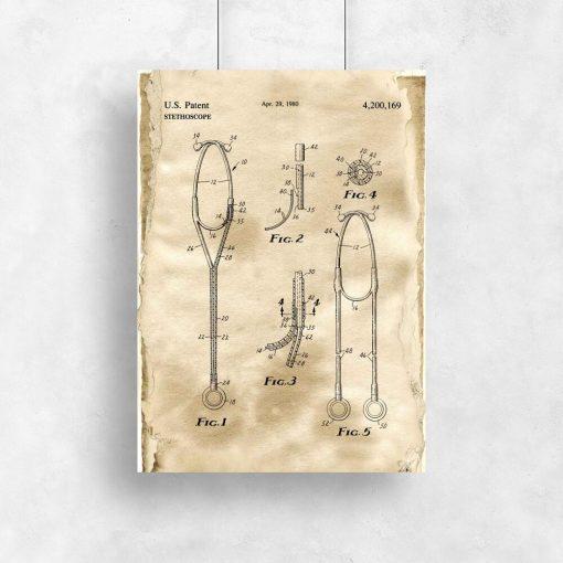 Patent na stetoskop - Plakat dla kolekcjonera do salonu
