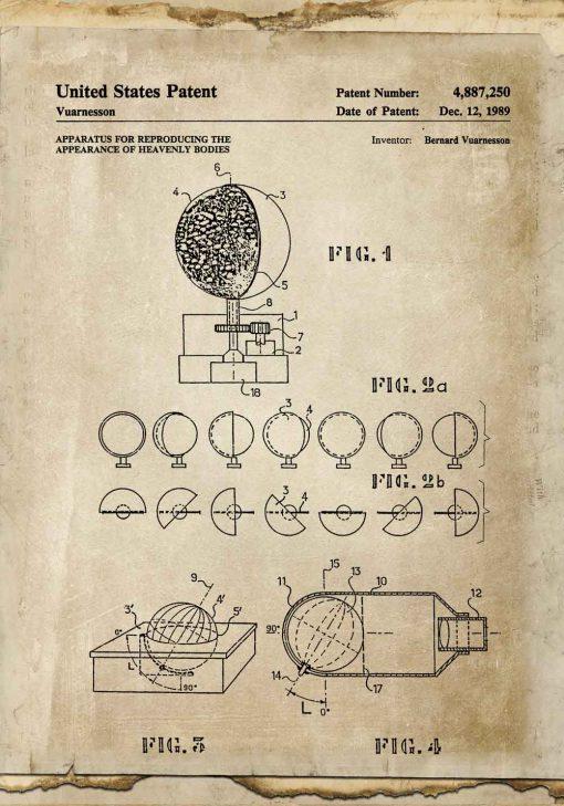 Plakat bez ramy z aparatem astronomicznym - patent z 1989r.