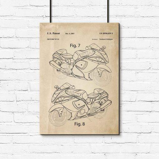 Plakat dla mechanika - Patent na motocykl do garażu