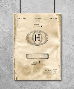 Plakat do łazienki z rysunkiem patentowym mydła