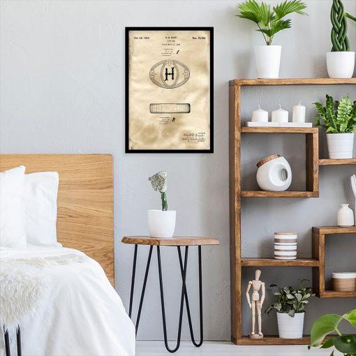 Plakat do sypialni z rysunkiem patentowym mydła