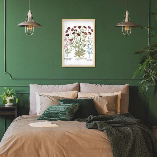 Plakat edukacyjny z kwiatami ogrodowymi do sypialni
