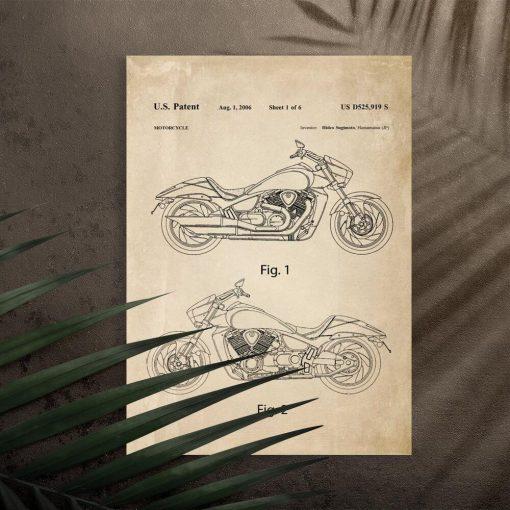 Plakat licencja na budowę motocykla