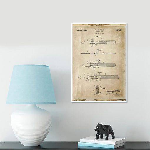 Plakat medyczny z patentem na skalpel chirurgiczny dla weterynarza