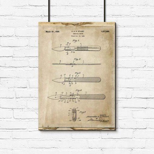 Plakat medyczny z patentem na skalpel dla chirurga