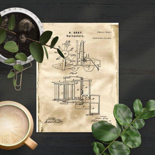 Plakat patent z 1874r. - maszyna rolnicza