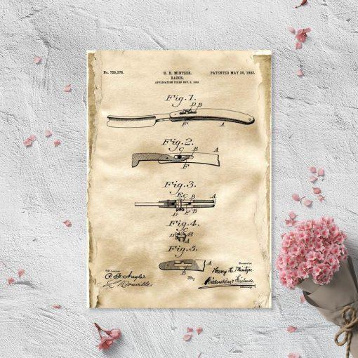 Plakat patentowy z brzytwą do barbera