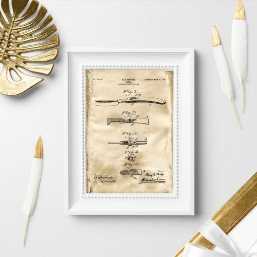 Plakat patentowy z brzytwą do salonu fryzjerskiego