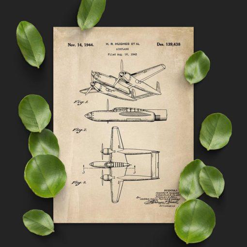Plakat retro 2-kadłubowy samolot
