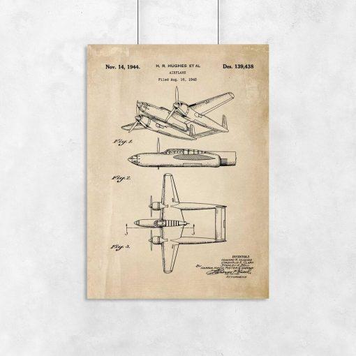 Plakat retro budowa samolotu dwukadłubowego z 1943r.