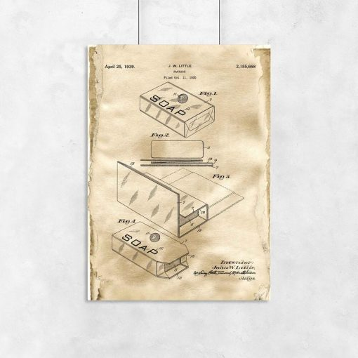 Plakat retro do łazienki z patentem na opakowanie