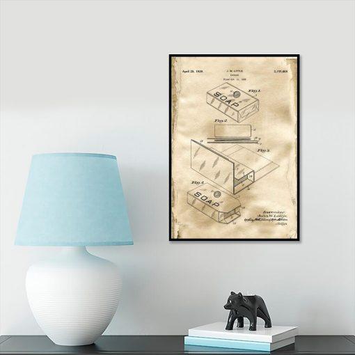 Plakat retro do przedpokoju z patentem na opakowanie