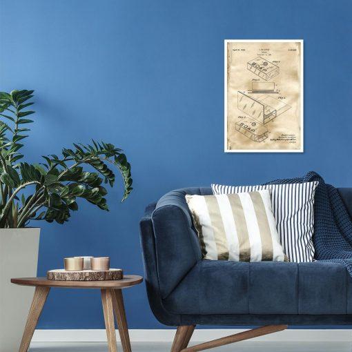 Plakat retro do salonu z patentem na opakowanie