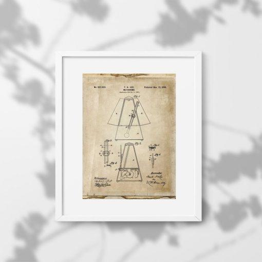 Plakat retro metronom - wynalazek z 1899r.