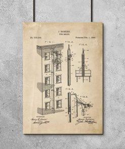 Plakat retro - patent na wyjście pożarowe