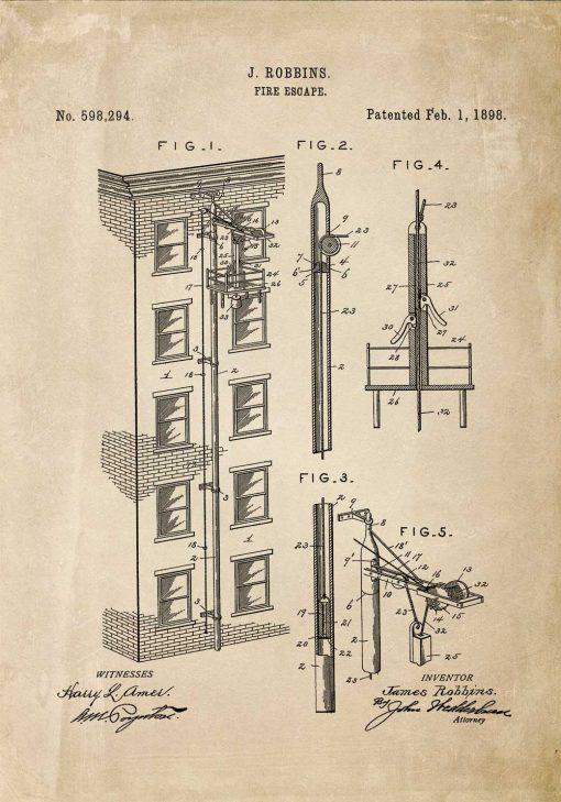 Plakat retro projekt i zgoda na budowę wyjścia pożarowego