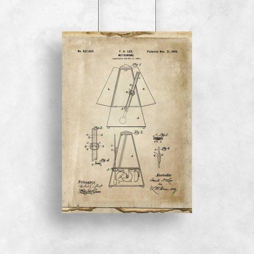 Plakat retro schemat budowy metronomu