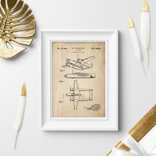 Plakat retro w sepii z samolotem dwukadłubowym