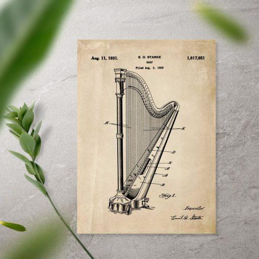 Plakat retro z certyfikatem na budowę harfy