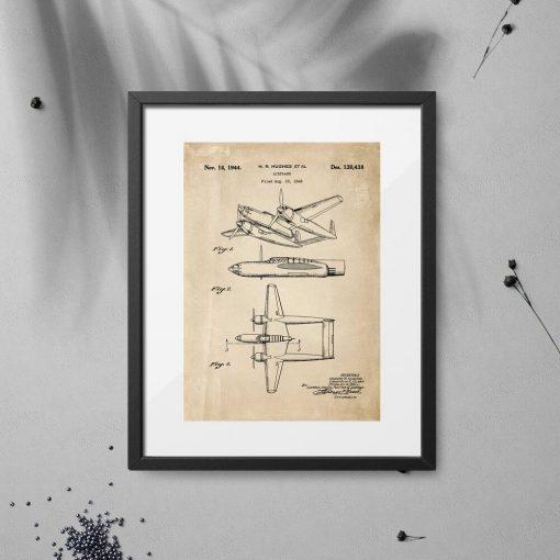 Plakat retro z konstrukcją samolotu z 1943r.