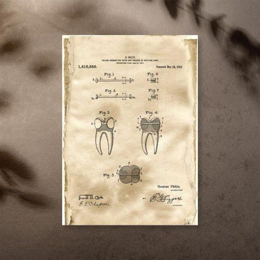 Plakat retro z patentem dentystycznym