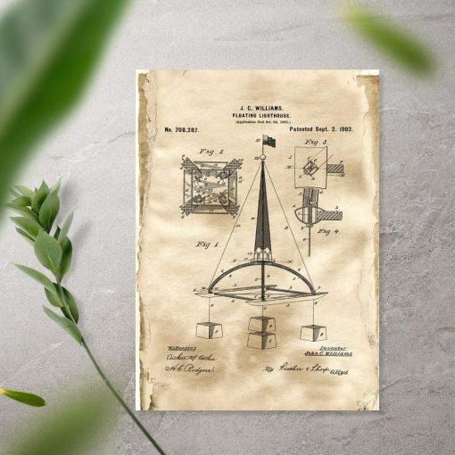 Plakat retro z patentem na bojkę morską