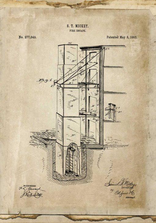 Plakat retro z patentem na budowę wyjścia pożarowego