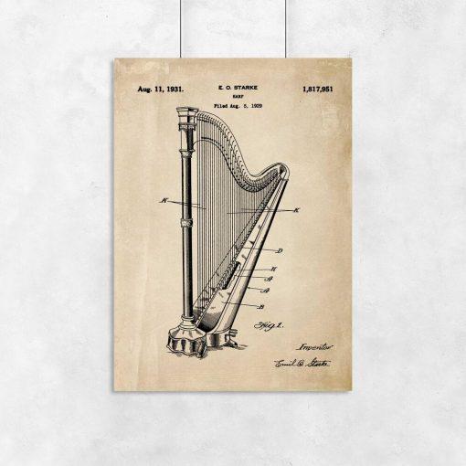 Plakat retro z patentem na harfę