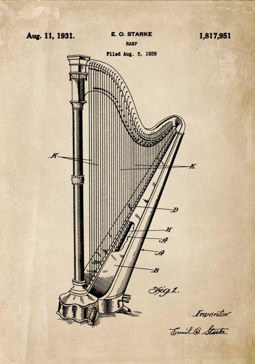 Plakat retro z patentem na instrument muzyczny