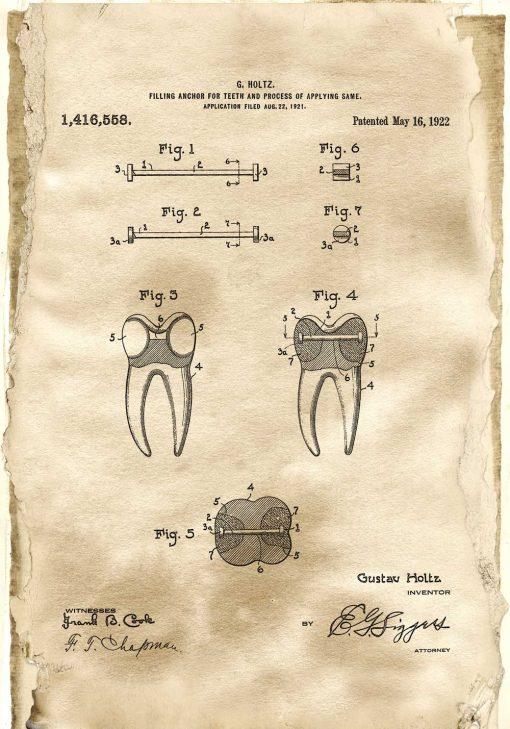 Plakat retro z patentem na kotwę do zęba