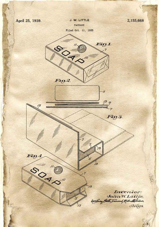 Plakat retro z patentem na opakowanie