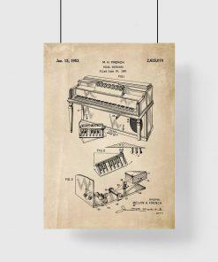 Plakat retro z patentem na pianino dla muzyka