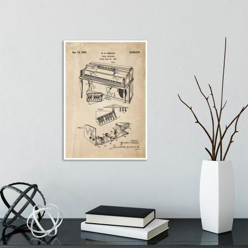 Plakat retro z patentem na pianino do gabinetu