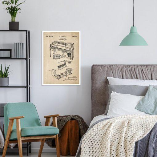 Plakat retro z patentem na pianino do sypialni