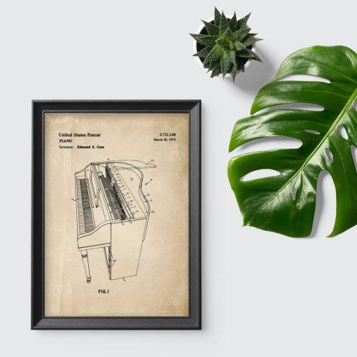 Plakat retro z patentem na pianino