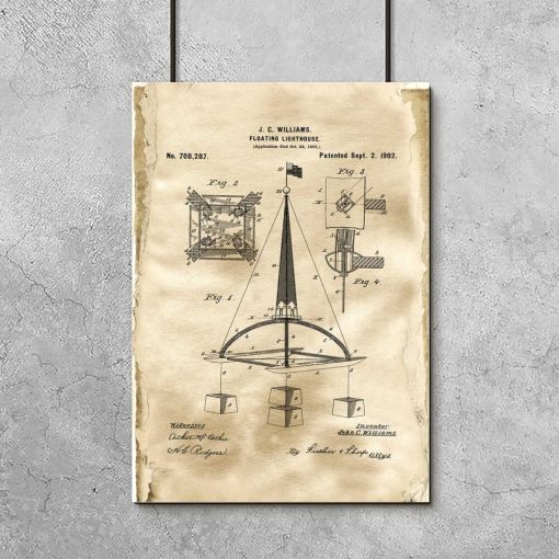 Plakat retro z patentem na pławę morską