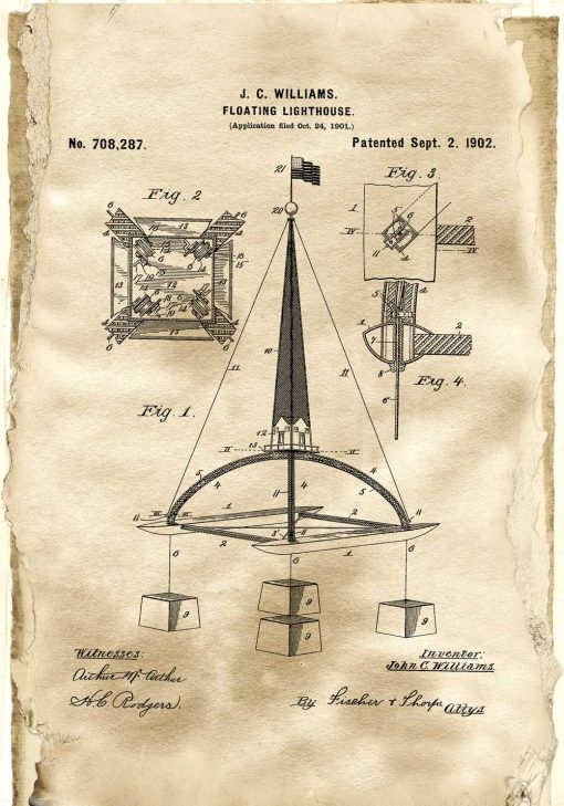 Plakat retro z patentem na pływającą boję morską